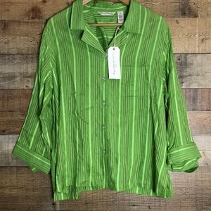 French Laundry green stripped button up